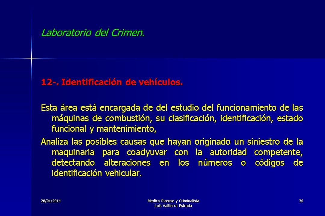 28/01/2014Medico forense y Criminalista Luis Valtierra Estrada 30 Laboratorio del Crimen. 12-. Identificación de vehículos. Esta área está encargada d