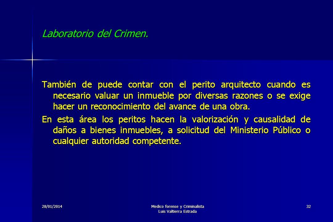 28/01/2014Medico forense y Criminalista Luis Valtierra Estrada 32 Laboratorio del Crimen. También de puede contar con el perito arquitecto cuando es n