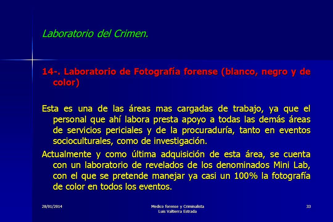 28/01/2014Medico forense y Criminalista Luis Valtierra Estrada 33 Laboratorio del Crimen. 14-. Laboratorio de Fotografía forense (blanco, negro y de c
