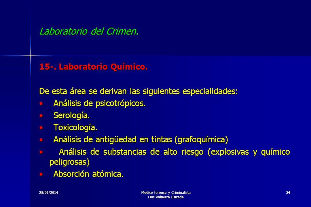 28/01/2014Medico forense y Criminalista Luis Valtierra Estrada 34 Laboratorio del Crimen. 15-. Laboratorio Químico. De esta área se derivan las siguie