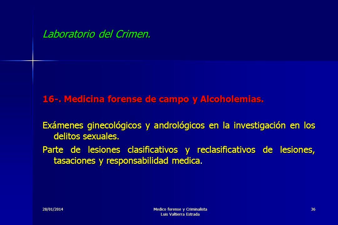 28/01/2014Medico forense y Criminalista Luis Valtierra Estrada 36 Laboratorio del Crimen. 16-. Medicina forense de campo y Alcoholemias. Exámenes gine