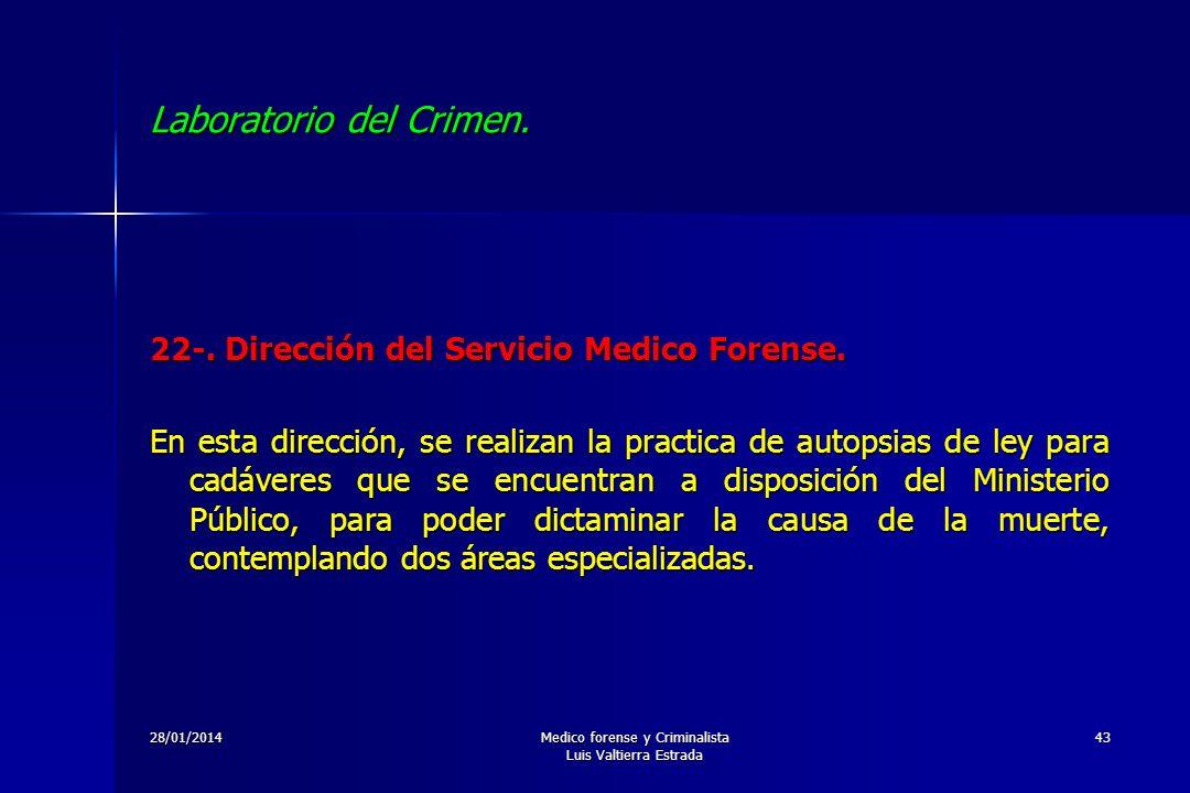 28/01/2014Medico forense y Criminalista Luis Valtierra Estrada 43 Laboratorio del Crimen. 22-. Dirección del Servicio Medico Forense. En esta direcció