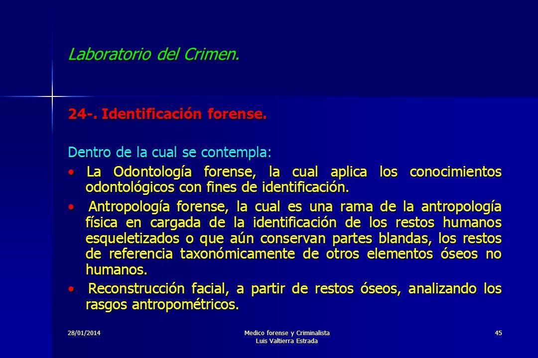 28/01/2014Medico forense y Criminalista Luis Valtierra Estrada 45 Laboratorio del Crimen. 24-. Identificación forense. Dentro de la cual se contempla:
