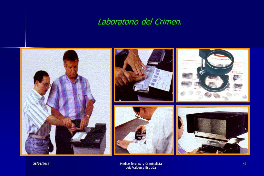 28/01/2014Medico forense y Criminalista Luis Valtierra Estrada 47 Laboratorio del Crimen.