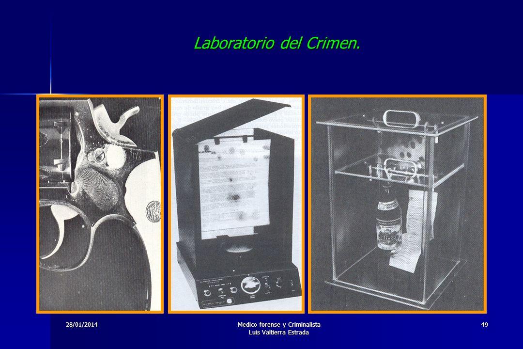 28/01/2014Medico forense y Criminalista Luis Valtierra Estrada 49 Laboratorio del Crimen.