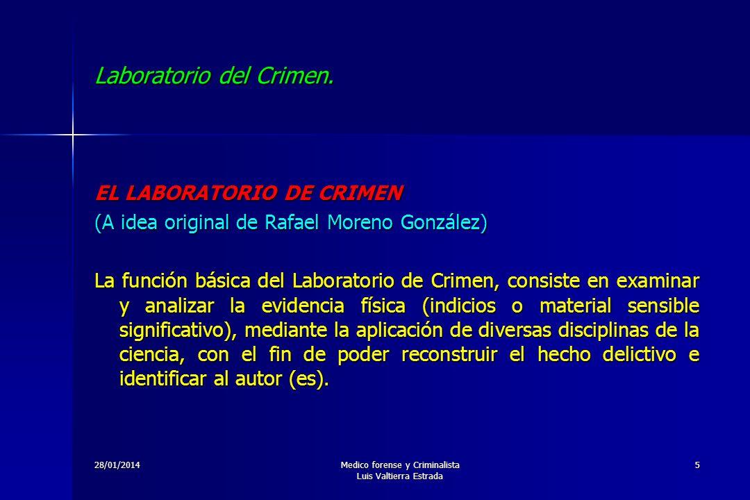 28/01/2014Medico forense y Criminalista Luis Valtierra Estrada 5 Laboratorio del Crimen. EL LABORATORIO DE CRIMEN (A idea original de Rafael Moreno Go