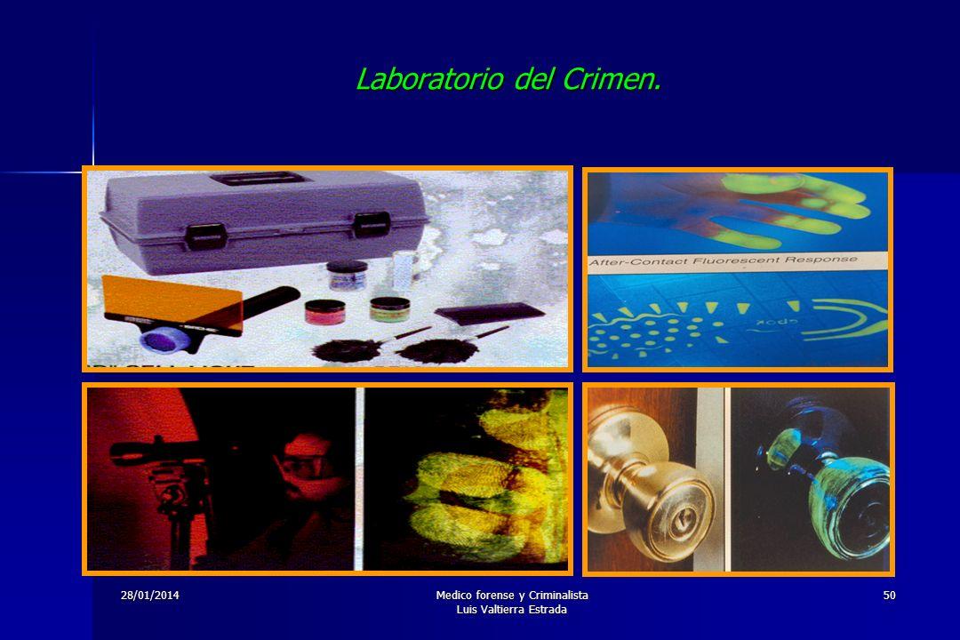 28/01/2014Medico forense y Criminalista Luis Valtierra Estrada 50 Laboratorio del Crimen.