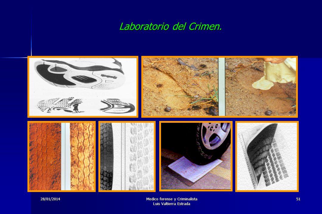 28/01/2014Medico forense y Criminalista Luis Valtierra Estrada 51 Laboratorio del Crimen.