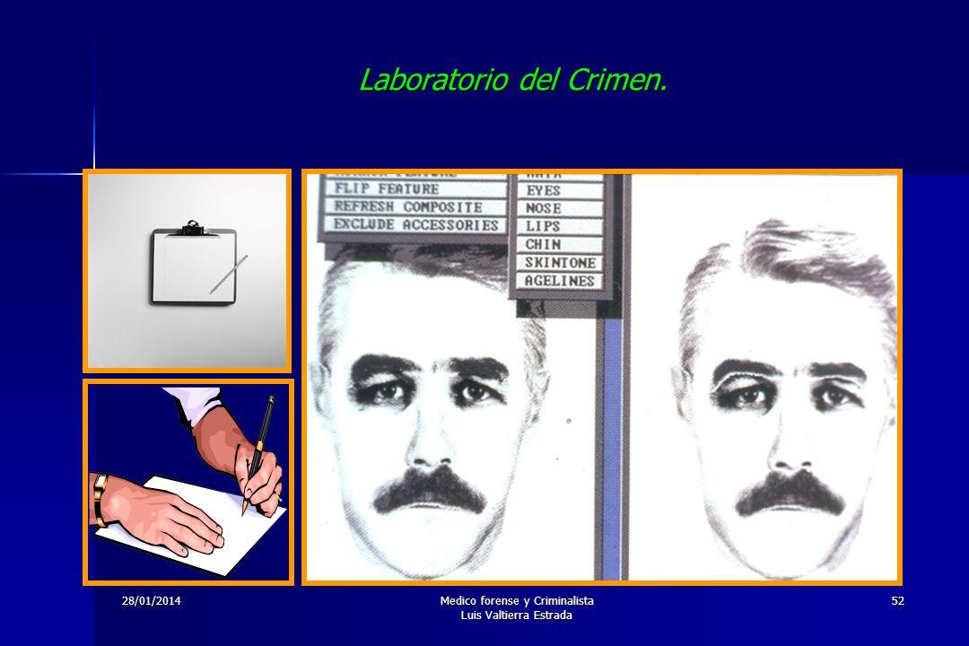 28/01/2014Medico forense y Criminalista Luis Valtierra Estrada 52 Laboratorio del Crimen.