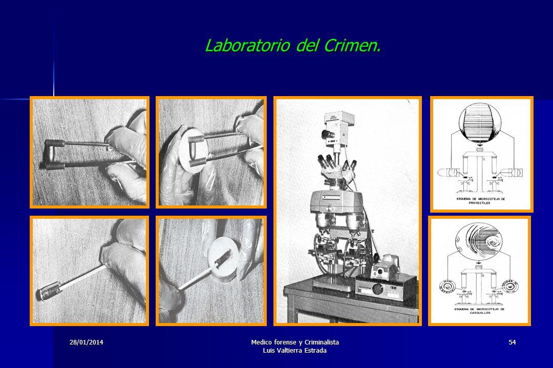 28/01/2014Medico forense y Criminalista Luis Valtierra Estrada 54 Laboratorio del Crimen.