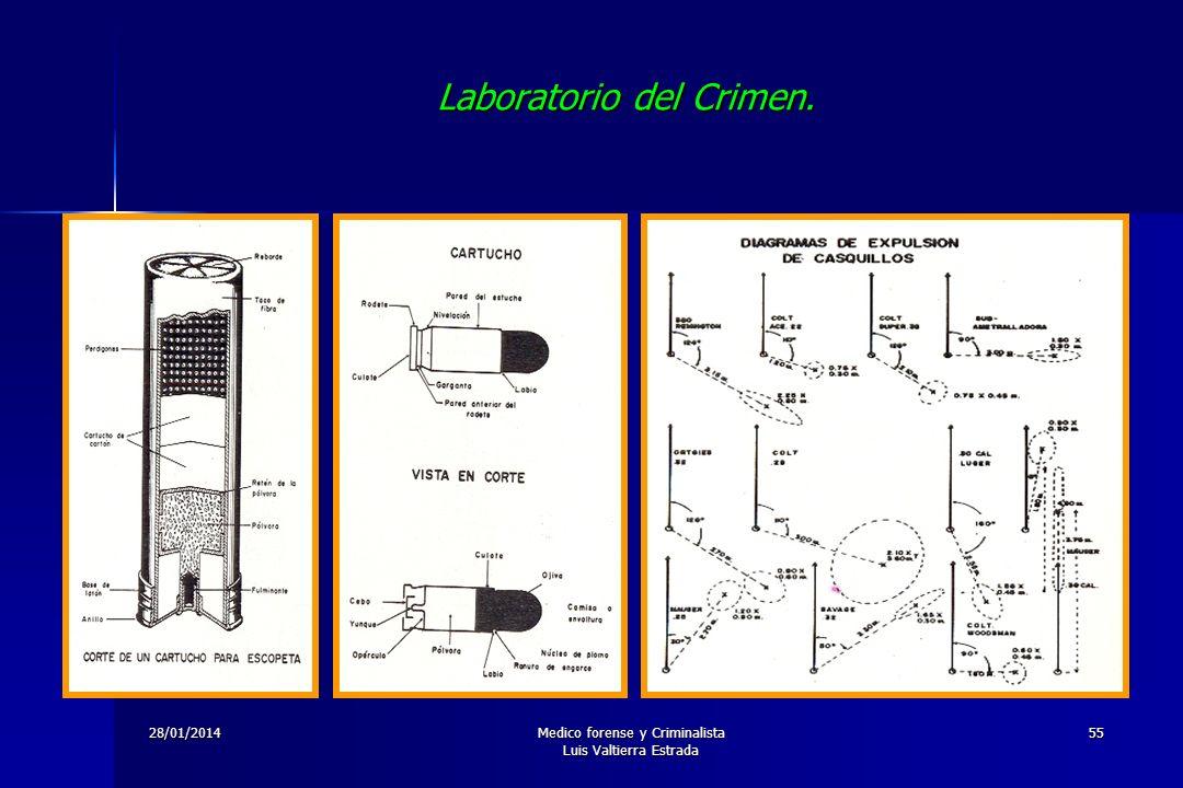 28/01/2014Medico forense y Criminalista Luis Valtierra Estrada 55 Laboratorio del Crimen.