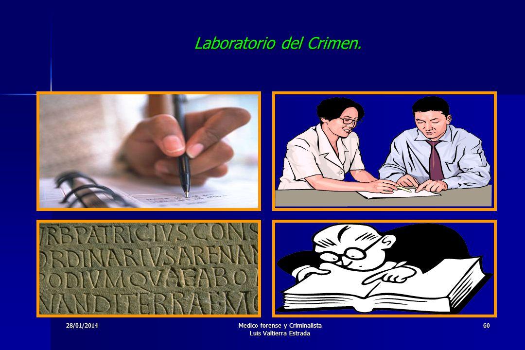 28/01/2014Medico forense y Criminalista Luis Valtierra Estrada 60 Laboratorio del Crimen.