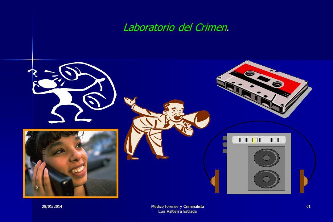 28/01/2014Medico forense y Criminalista Luis Valtierra Estrada 61 Laboratorio del Crimen.