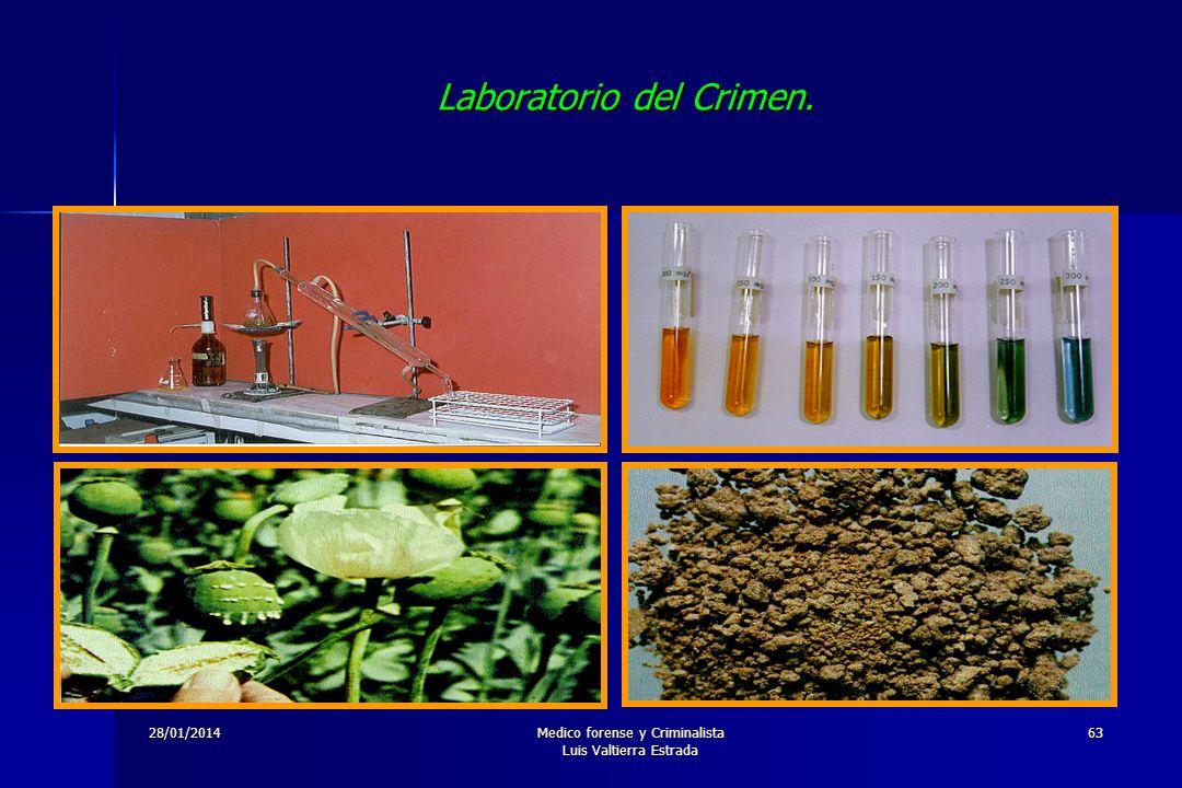 28/01/2014Medico forense y Criminalista Luis Valtierra Estrada 63 Laboratorio del Crimen.