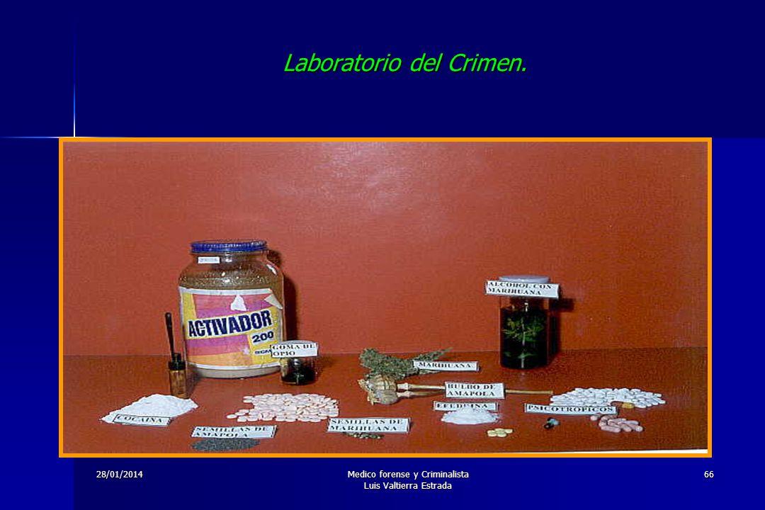 28/01/2014Medico forense y Criminalista Luis Valtierra Estrada 66 Laboratorio del Crimen.