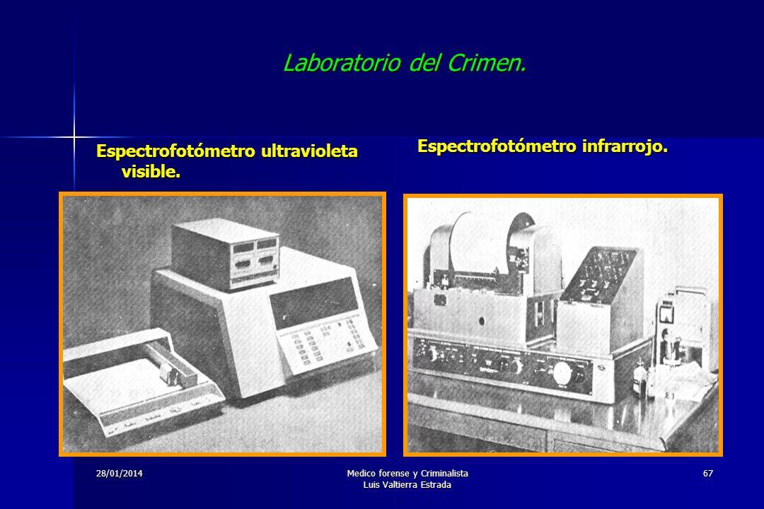 28/01/2014Medico forense y Criminalista Luis Valtierra Estrada 67 Laboratorio del Crimen. Espectrofotómetro ultravioleta visible. Espectrofotómetro in
