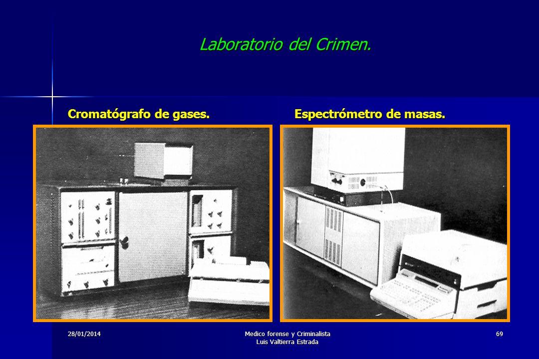 28/01/2014Medico forense y Criminalista Luis Valtierra Estrada 69 Laboratorio del Crimen. Cromatógrafo de gases. Espectrómetro de masas.