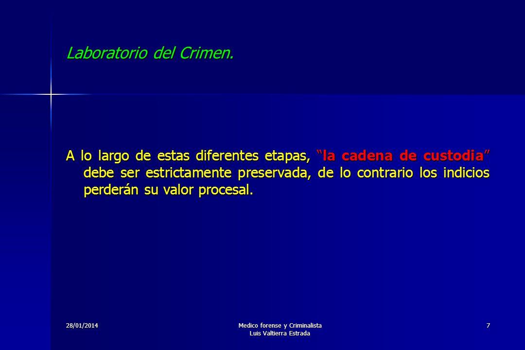 28/01/2014Medico forense y Criminalista Luis Valtierra Estrada 7 Laboratorio del Crimen. A lo largo de estas diferentes etapas, la cadena de custodia
