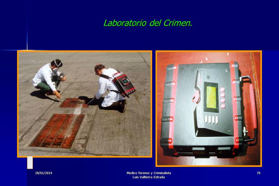 28/01/2014Medico forense y Criminalista Luis Valtierra Estrada 70 Laboratorio del Crimen.