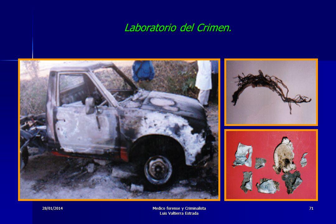 28/01/2014Medico forense y Criminalista Luis Valtierra Estrada 71 Laboratorio del Crimen.