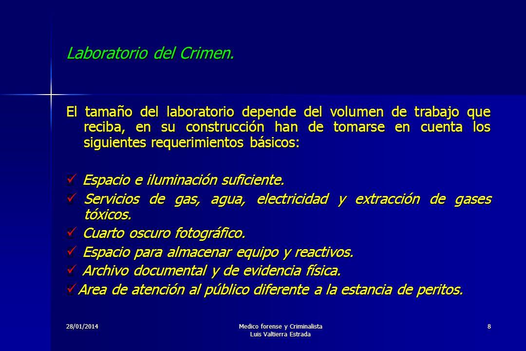 28/01/2014Medico forense y Criminalista Luis Valtierra Estrada 8 Laboratorio del Crimen. El tamaño del laboratorio depende del volumen de trabajo que
