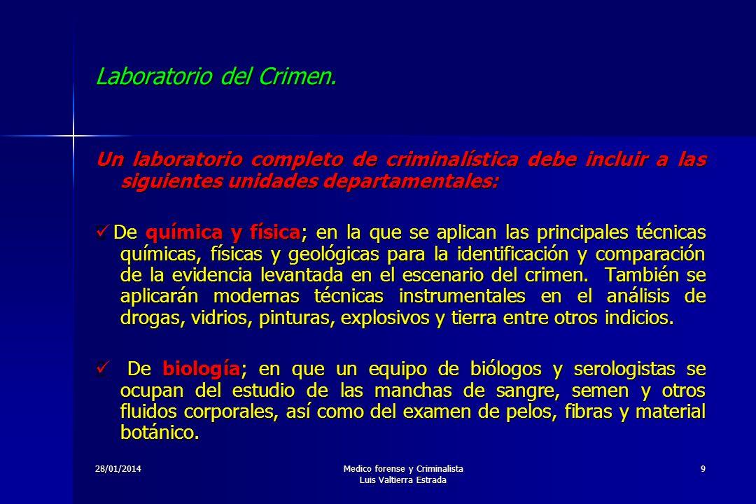 28/01/2014Medico forense y Criminalista Luis Valtierra Estrada 9 Laboratorio del Crimen. Un laboratorio completo de criminalística debe incluir a las