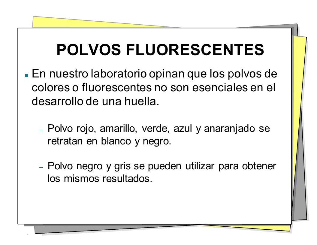 POLVOS FLUORESCENTES En nuestro laboratorio opinan que los polvos de colores o fluorescentes no son esenciales en el desarrollo de una huella. – Polvo