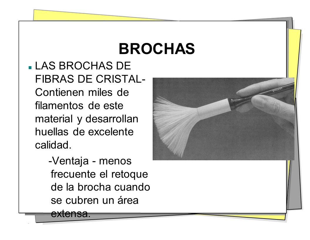 BROCHAS LAS BROCHAS DE FIBRAS DE CRISTAL- Contienen miles de filamentos de este material y desarrollan huellas de excelente calidad. -Ventaja - menos