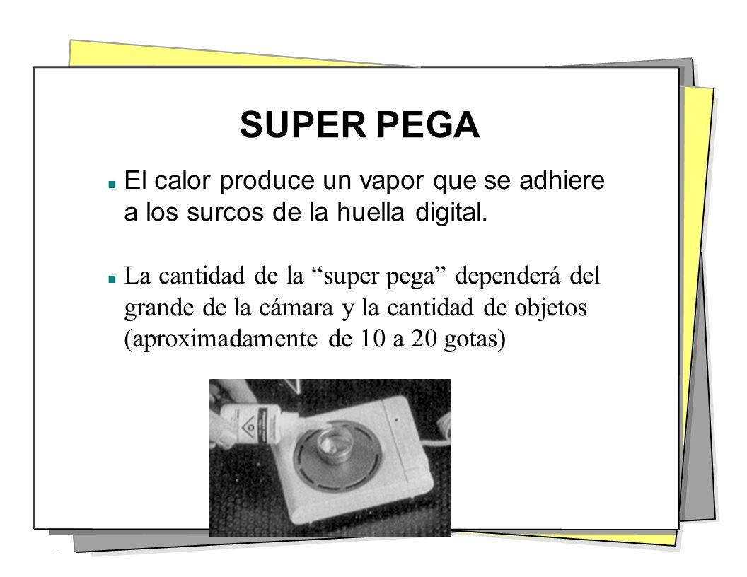 SUPER PEGA El calor produce un vapor que se adhiere a los surcos de la huella digital. n La cantidad de la super pega dependerá del grande de la cámar