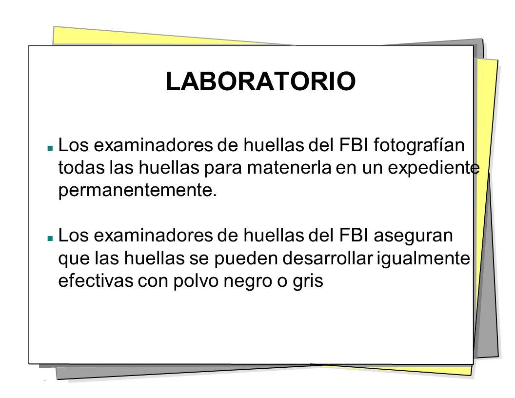LABORATORIO Los examinadores de huellas del FBI fotografían todas las huellas para matenerla en un expediente permanentemente. Los examinadores de hue