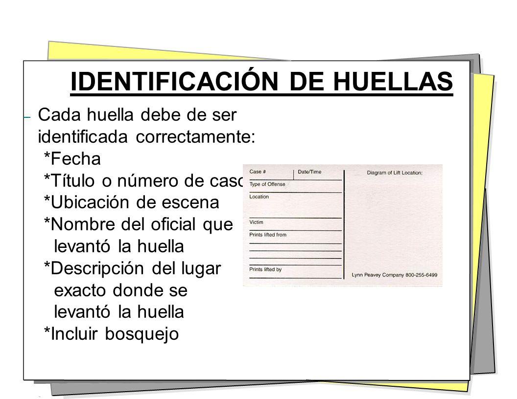 IDENTIFICACIÓN DE HUELLAS – Cada huella debe de ser identificada correctamente: *Fecha *Título o número de caso *Ubicación de escena *Nombre del ofici