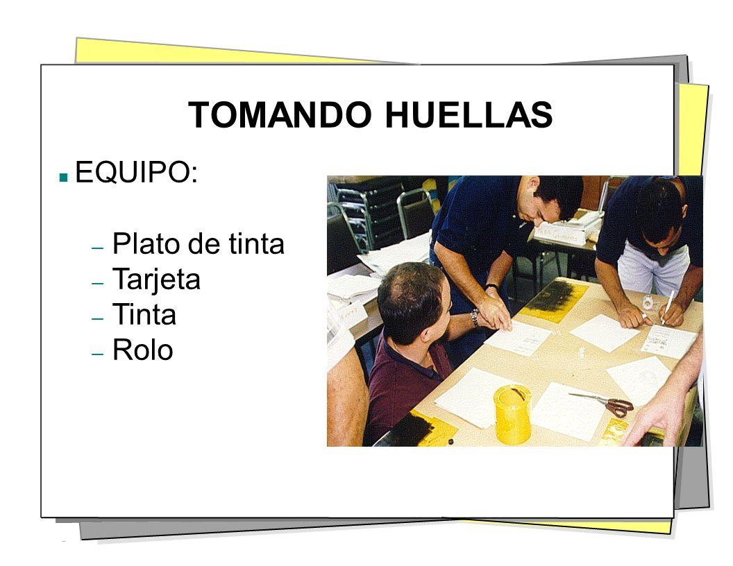 TOMANDO HUELLAS EQUIPO: – Plato de tinta – Tarjeta – Tinta – Rolo