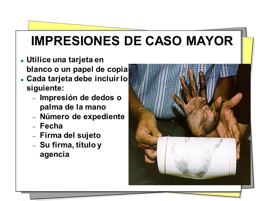 IMPRESIONES DE CASO MAYOR Utilice una tarjeta en blanco o un papel de copia. Cada tarjeta debe incluir lo siguiente: – Impresión de dedos o palma de l
