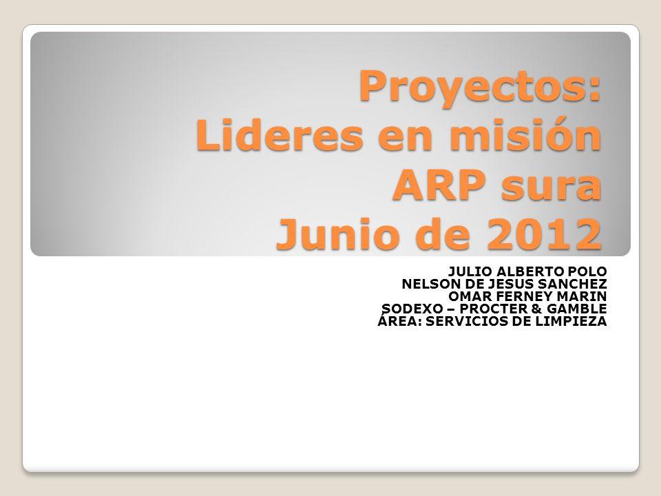 Proyectos: Lideres en misión ARP sura Junio de 2012 JULIO ALBERTO POLO NELSON DE JESUS SANCHEZ OMAR FERNEY MARIN SODEXO – PROCTER & GAMBLE ÁREA: SERVI