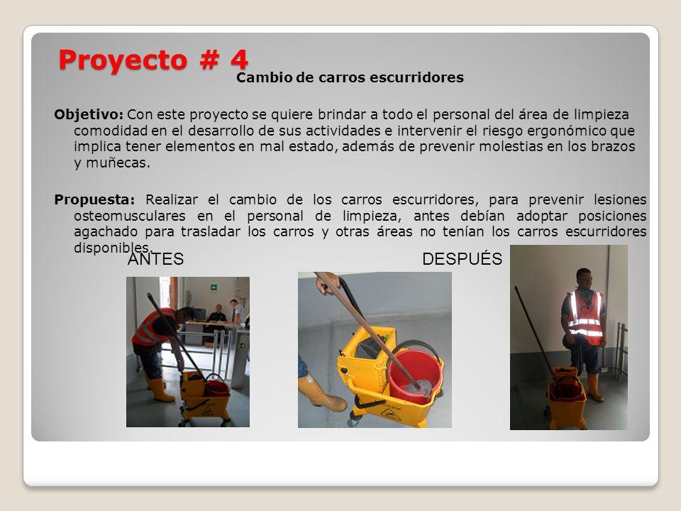 Proyecto # 4 Cambio de carros escurridores Objetivo: Con este proyecto se quiere brindar a todo el personal del área de limpieza comodidad en el desar