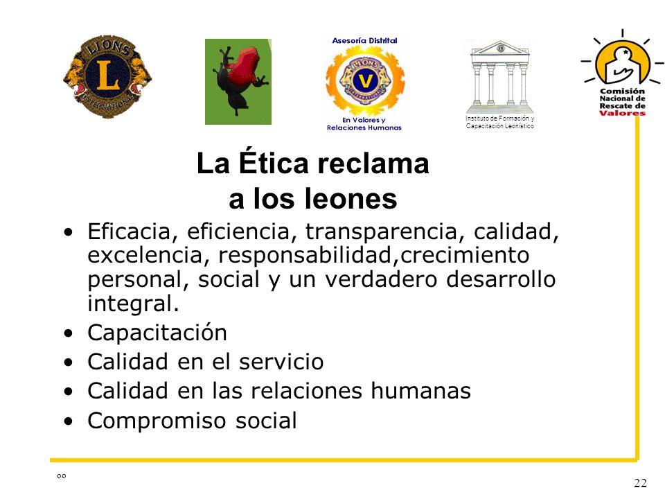 oo 22 La Ética reclama a los leones Eficacia, eficiencia, transparencia, calidad, excelencia, responsabilidad,crecimiento personal, social y un verdad