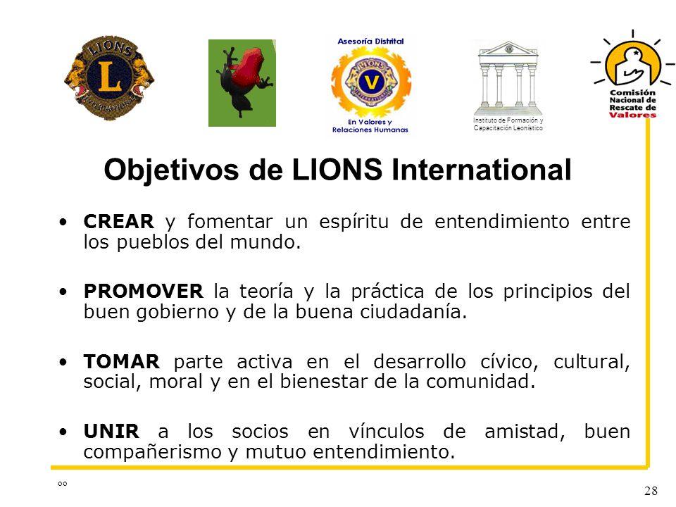 oo 28 Objetivos de LIONS International CREAR y fomentar un espíritu de entendimiento entre los pueblos del mundo. PROMOVER la teoría y la práctica de