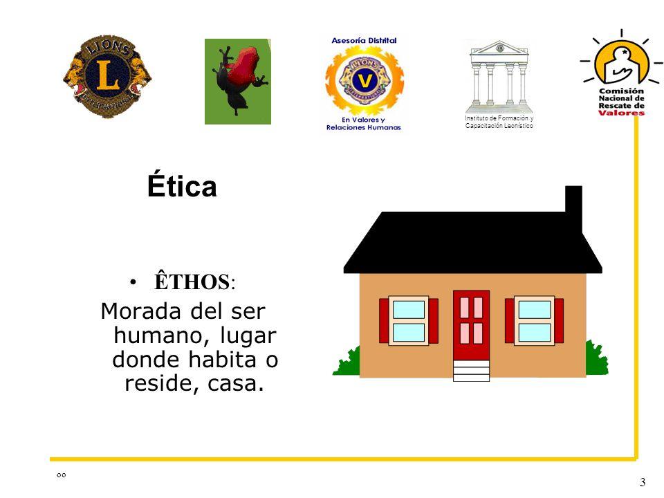 oo 3 ÊTHOS: Morada del ser humano, lugar donde habita o reside, casa. Ética Instituto de Formación y Capacitación Leonístico
