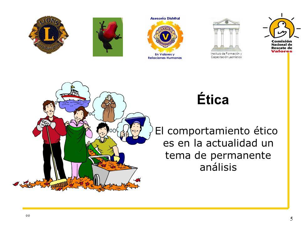 oo 5 Ética El comportamiento ético es en la actualidad un tema de permanente análisis Instituto de Formación y Capacitación Leonístico