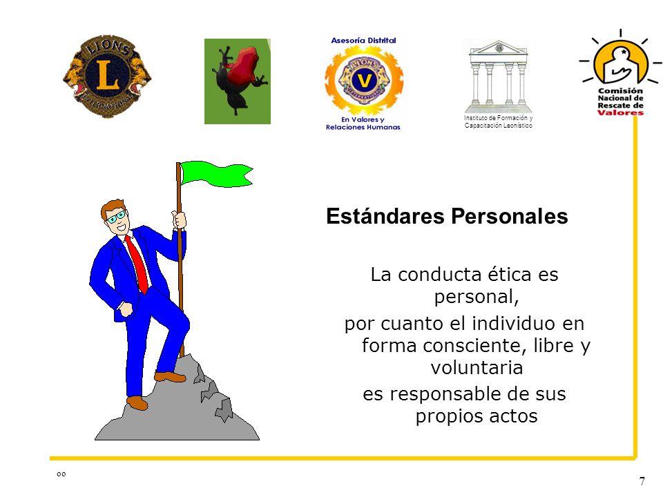 oo 7 La conducta ética es personal, por cuanto el individuo en forma consciente, libre y voluntaria es responsable de sus propios actos Estándares Per