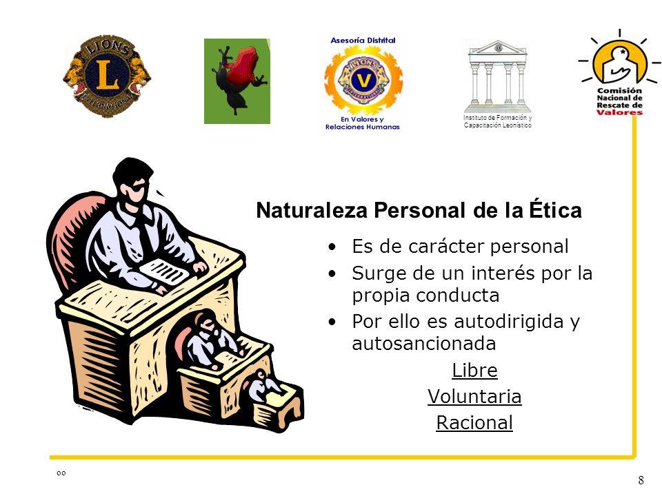 oo 8 Es de carácter personal Surge de un interés por la propia conducta Por ello es autodirigida y autosancionada Libre Voluntaria Racional Naturaleza