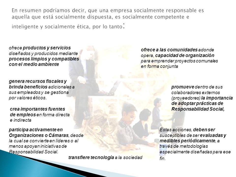 Incorporar explícita o implícitamente en la Misión/ Visión de la Empresa la RSC Formular políticas y estrategias de RSC Enunciar una Misión y Visión d