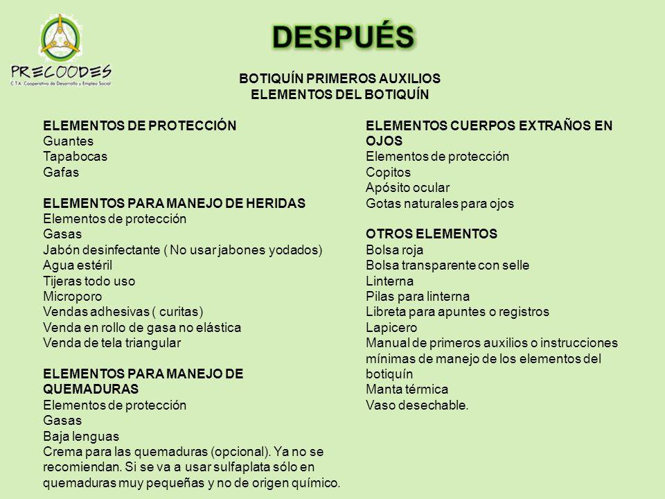 ELEMENTOS DE PROTECCIÓN Guantes Tapabocas Gafas ELEMENTOS PARA MANEJO DE HERIDAS Elementos de protección Gasas Jabón desinfectante ( No usar jabones y