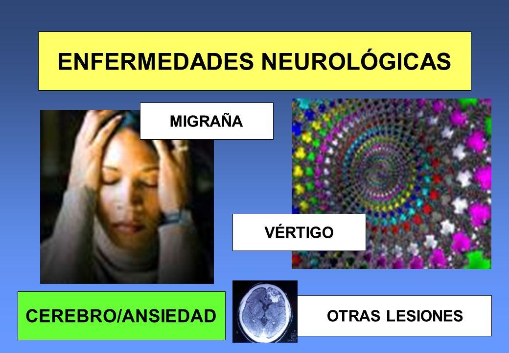 ENFERMEDADES NEUROLÓGICAS MIGRAÑA VÉRTIGO OTRAS LESIONES CEREBRO/ANSIEDAD
