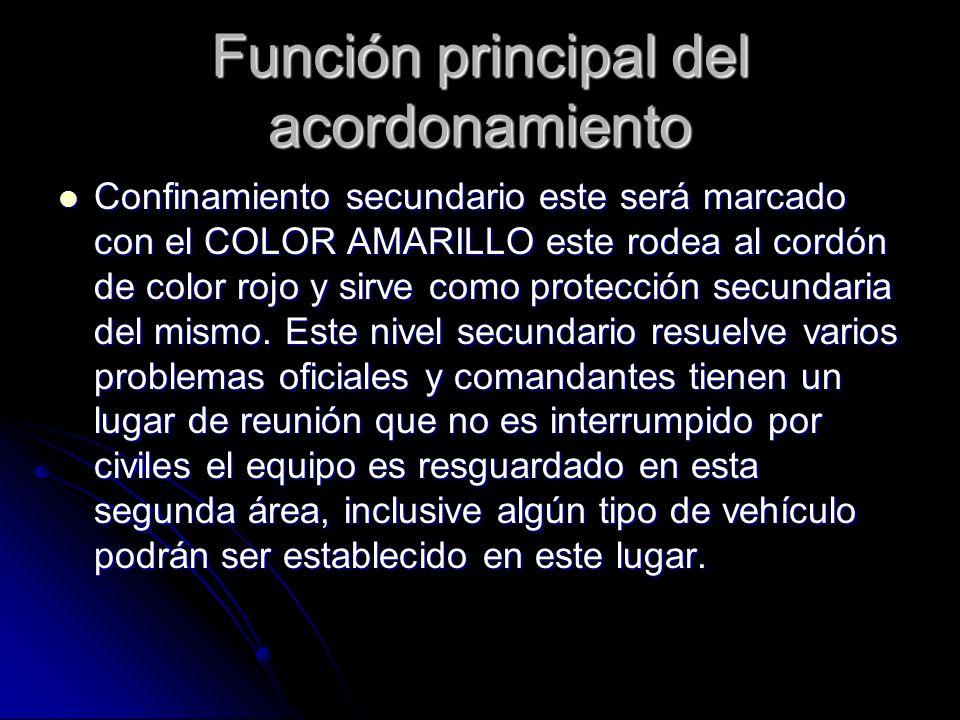 Función principal del acordonamiento Confinamiento secundario este será marcado con el COLOR AMARILLO este rodea al cordón de color rojo y sirve como