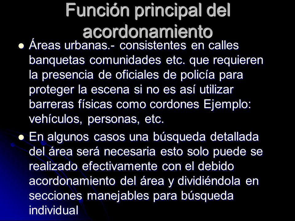 Función principal del acordonamiento Áreas urbanas.- consistentes en calles banquetas comunidades etc. que requieren la presencia de oficiales de poli