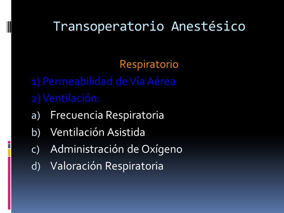 Respiratorio 1) Permeabilidad de Vía Aérea 2) Ventilación: a) Frecuencia Respiratoria b) Ventilación Asistida c) Administración de Oxígeno d) Valoraci