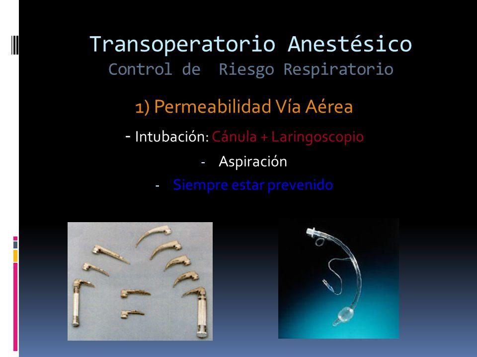 Transoperatorio Anestésico Control de Riesgo Respiratorio 1) Permeabilidad Vía Aérea - Intubación: Cánula + Laringoscopio - Aspiración - Siempre estar