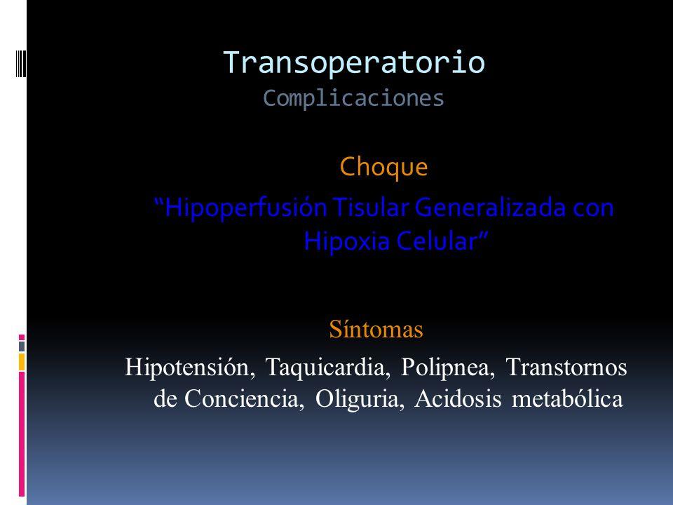 Choque Hipoperfusión Tisular Generalizada con Hipoxia Celular Síntomas Hipotensión, Taquicardia, Polipnea, Transtornos de Conciencia, Oliguria, Acidos