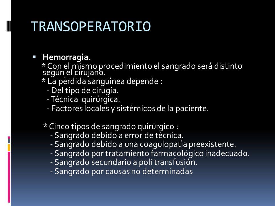 TRANSOPERATORIO Hemorragia. * Con el mismo procedimiento el sangrado será distinto según el cirujano. * La pèrdida sanguìnea depende : - Del tipo de c